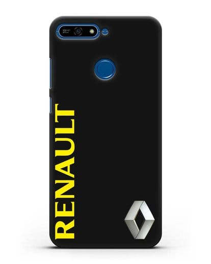 Чехол с надписью Renault и логотипом силикон черный для Honor 7А Pro