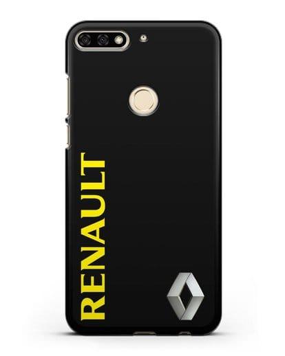 Чехол с надписью Renault и логотипом силикон черный для Honor 7C