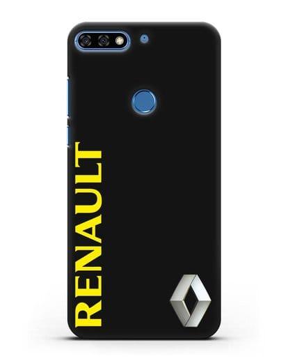 Чехол с надписью Renault и логотипом силикон черный для Honor 7C Pro