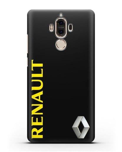 Чехол с надписью Renault и логотипом силикон черный для Huawei Mate 9