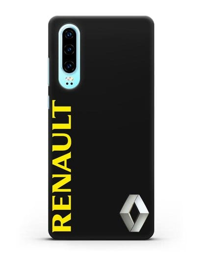 Чехол с надписью Renault и логотипом силикон черный для Huawei P30