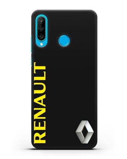 Чехол с надписью Renault и логотипом силикон черный для Huawei P30 Lite