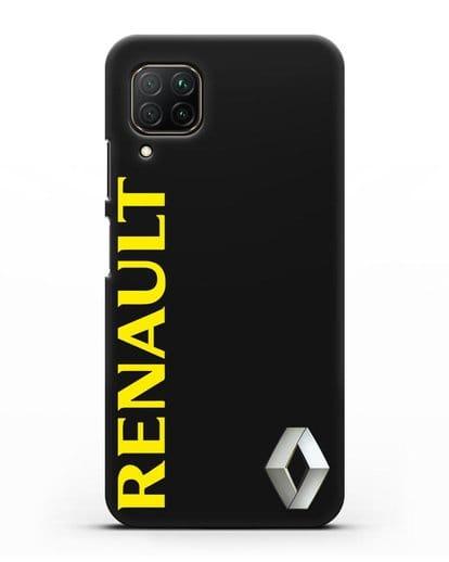 Чехол с надписью Renault и логотипом силикон черный для Huawei P40 lite
