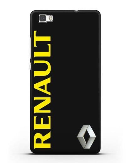 Чехол с надписью Renault и логотипом силикон черный для Huawei P8 Lite