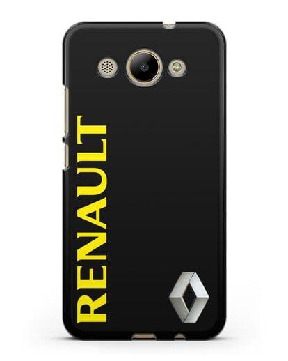 Чехол с надписью Renault и логотипом силикон черный для Huawei Y3 2017