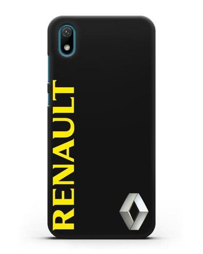 Чехол с надписью Renault и логотипом силикон черный для Huawei Y5 2019