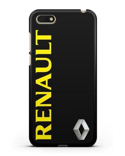 Чехол с надписью Renault и логотипом силикон черный для Huawei Y5 Prime 2018