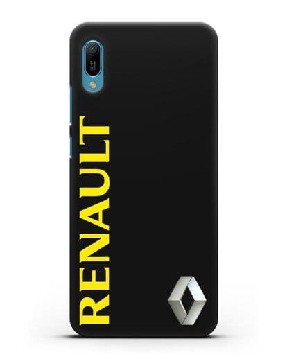 Чехол с надписью Renault и логотипом силикон черный для Huawei Y6 2019