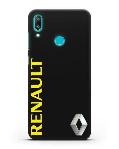 Чехол с надписью Renault и логотипом силикон черный для Huawei Y7 2019