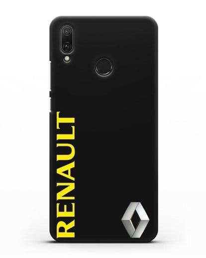 Чехол с надписью Renault и логотипом силикон черный для Huawei Y9 2019