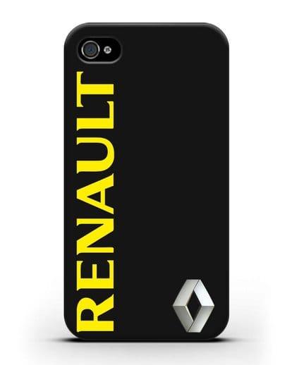 Чехол с надписью Renault и логотипом силикон черный для iPhone 4/4s
