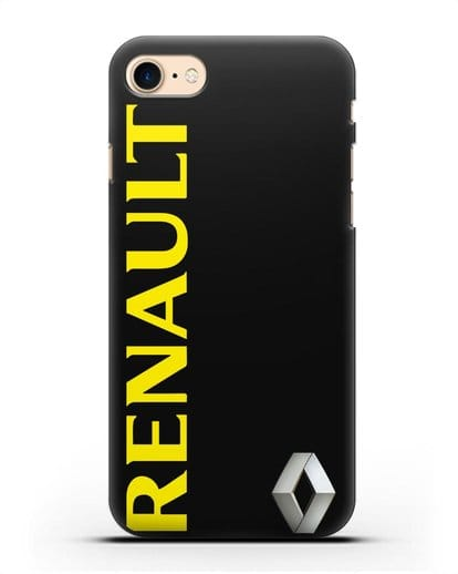 Чехол с надписью Renault и логотипом силикон черный для iPhone 7
