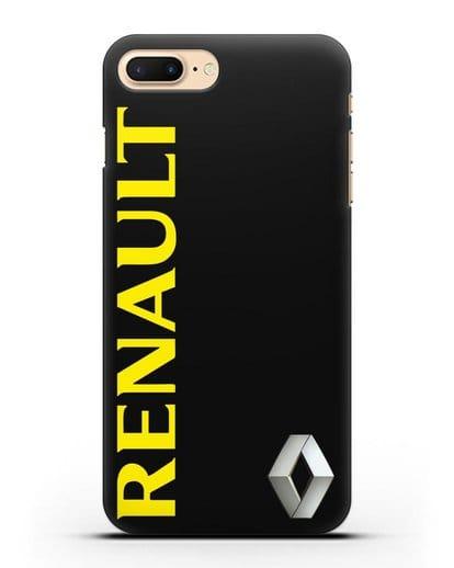 Чехол с надписью Renault и логотипом силикон черный для iPhone 8 Plus
