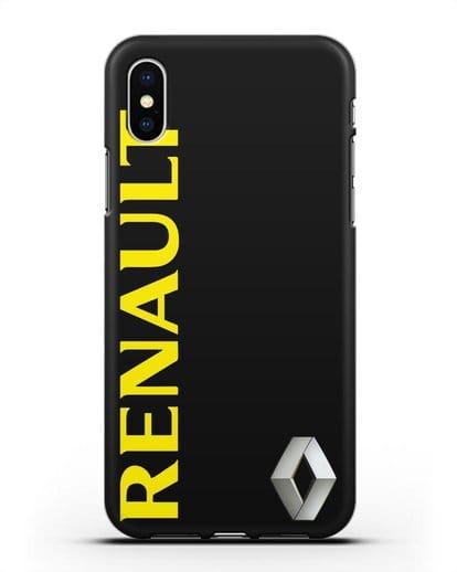 Чехол с надписью Renault и логотипом силикон черный для iPhone XS