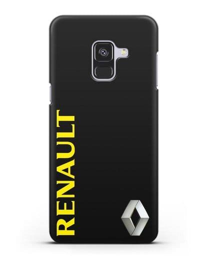 Чехол с надписью Renault и логотипом силикон черный для Samsung Galaxy A8 Plus [SM-A730F]