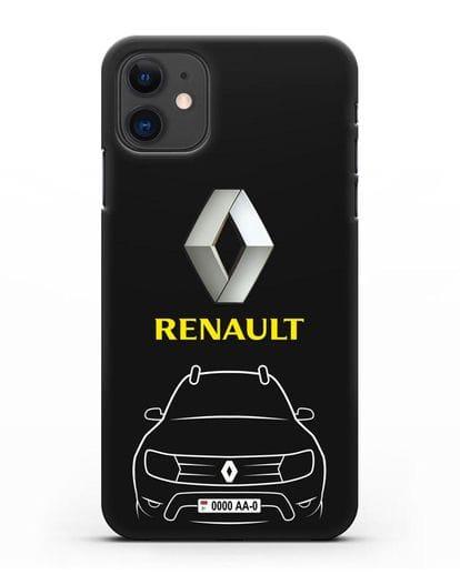 Чехол Renault с автомобильным номером силикон черный для iPhone 11