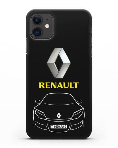 Чехол Renault с номерным знаком силикон черный для iPhone 11