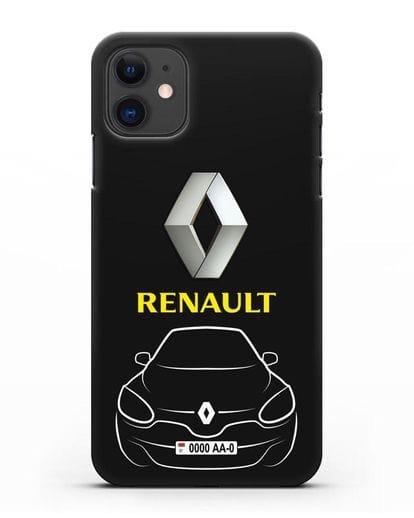Чехол Renault с автономером силикон черный для iPhone 11