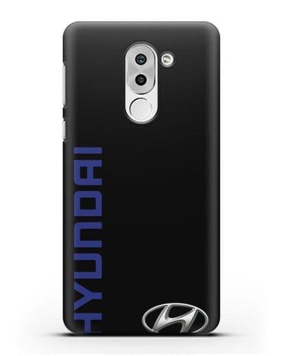 Чехол с надписью Hyundai и логотипом силикон черный для Honor 6X