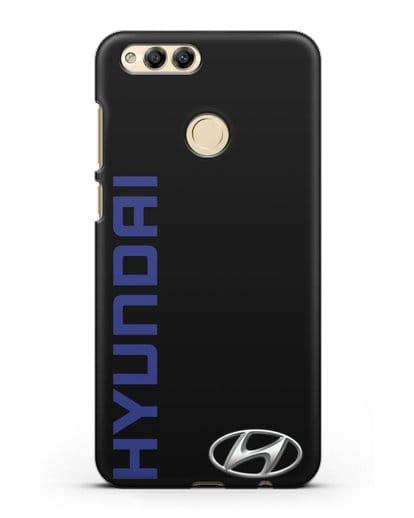 Чехол с надписью Hyundai и логотипом силикон черный для Honor 7X