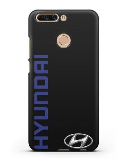 Чехол с надписью Hyundai и логотипом силикон черный для Honor 8 Pro