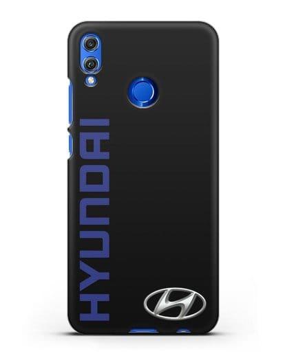 Чехол с надписью Hyundai и логотипом силикон черный для Honor 8X