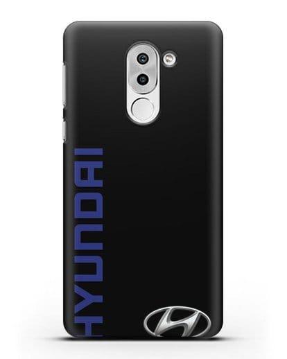 Чехол с надписью Hyundai и логотипом силикон черный для Huawei Mate 9 Lite