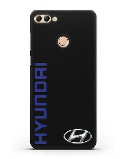 Чехол с надписью Hyundai и логотипом силикон черный для Huawei Y9 2018