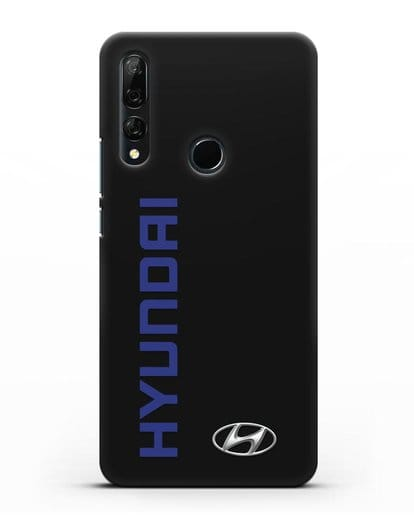 Чехол с надписью Hyundai и логотипом силикон черный для Huawei Y9 Prime 2019