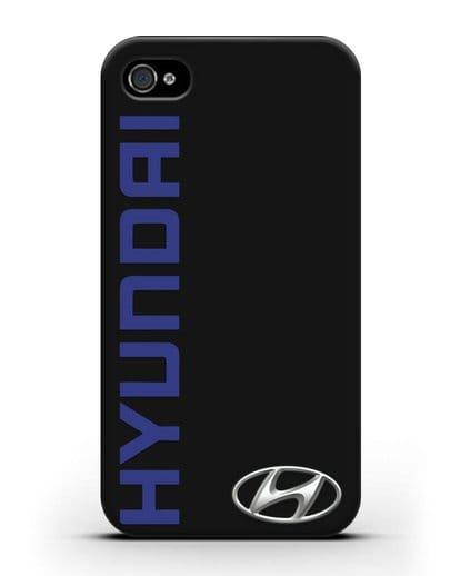 Чехол с надписью Hyundai и логотипом силикон черный для iPhone 4/4s