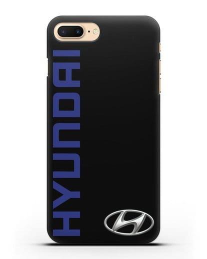 Чехол с надписью Hyundai и логотипом силикон черный для iPhone 7 Plus