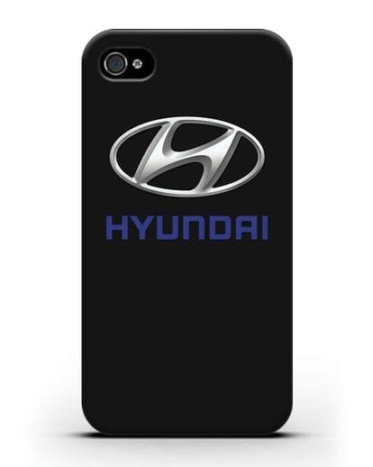 Чехол с логотипом Hyundai силикон черный для iPhone 4/4s