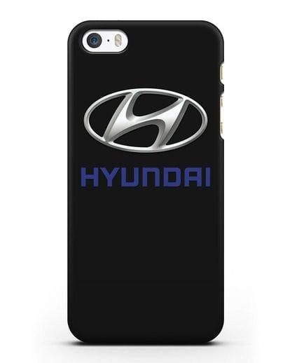 Чехол с логотипом Hyundai силикон черный для iPhone 5/5s/SE
