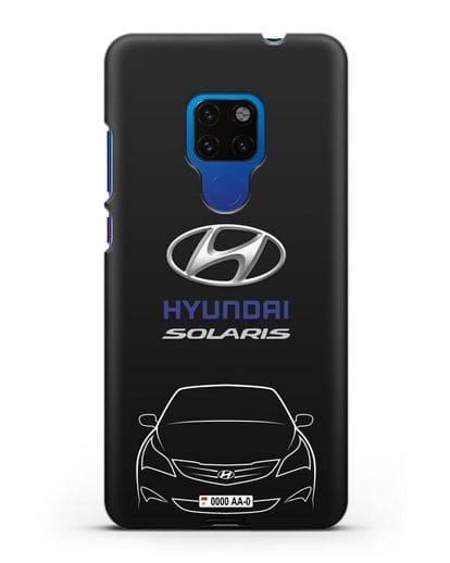 Чехол Hyundai Solaris с автомобильным номером силикон черный для Huawei Mate 20
