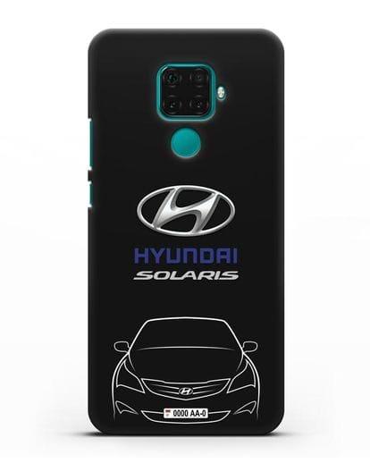 Чехол Hyundai Solaris с автомобильным номером силикон черный для Huawei Mate 30 Lite