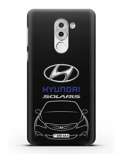 Чехол Hyundai Solaris с автомобильным номером силикон черный для Huawei Mate 9 Lite