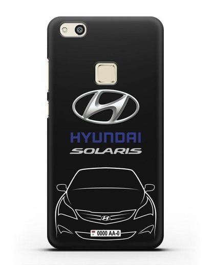 Чехол Hyundai Solaris с автомобильным номером силикон черный для Huawei P10 Lite
