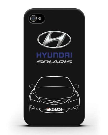 Чехол Hyundai Solaris с автомобильным номером силикон черный для iPhone 4/4s