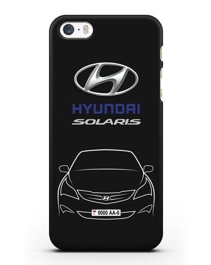 Чехол Hyundai Solaris с автомобильным номером силикон черный для iPhone 5/5s/SE