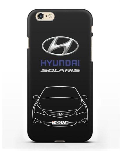 Чехол Hyundai Solaris с автомобильным номером силикон черный для iPhone 6s