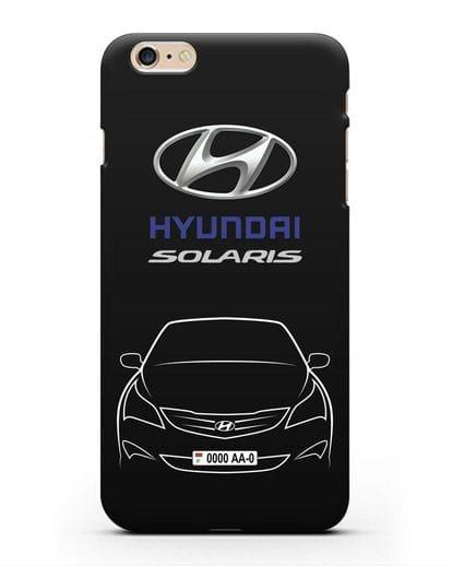 Чехол Hyundai Solaris с автомобильным номером силикон черный для iPhone 6 Plus