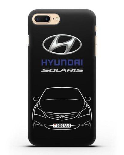 Чехол Hyundai Solaris с автомобильным номером силикон черный для iPhone 7 Plus