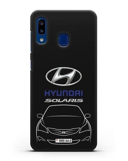 Чехол Hyundai Solaris с автомобильным номером силикон черный для Samsung Galaxy A20 [SM-A205FN]
