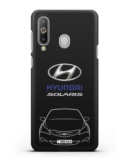 Чехол Hyundai Solaris с автомобильным номером силикон черный для Samsung Galaxy A8s [SM-G8870]