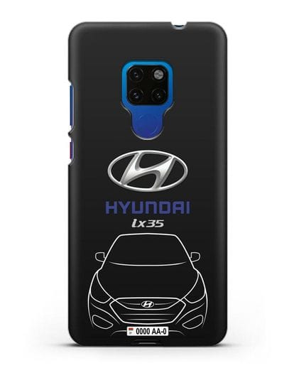 Чехол Hyundai ix35 с автомобильным номером силикон черный для Huawei Mate 20