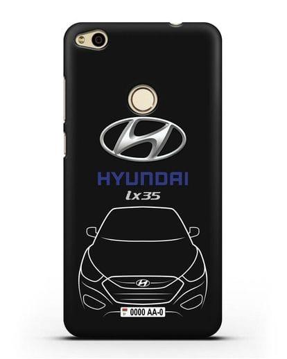 Чехол Hyundai ix35 с автомобильным номером силикон черный для Huawei P8 Lite 2017