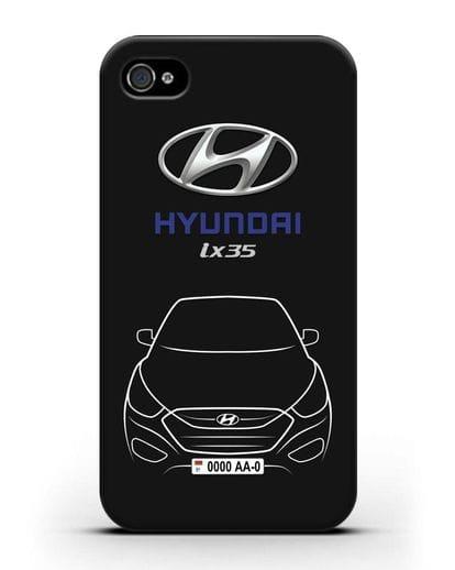 Чехол Hyundai ix35 с автомобильным номером силикон черный для iPhone 4/4s