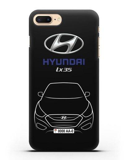Чехол Hyundai ix35 с автомобильным номером силикон черный для iPhone 7 Plus