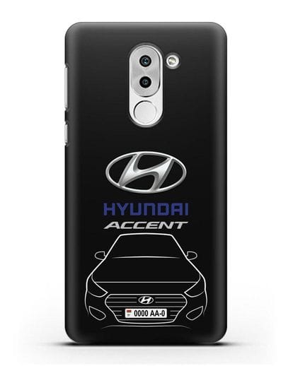 Чехол Hyundai Accent с автомобильным номером силикон черный для Honor 6X