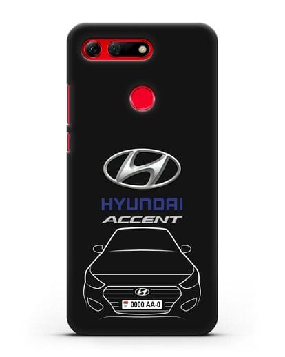 Чехол Hyundai Accent с автомобильным номером силикон черный для Honor View 20